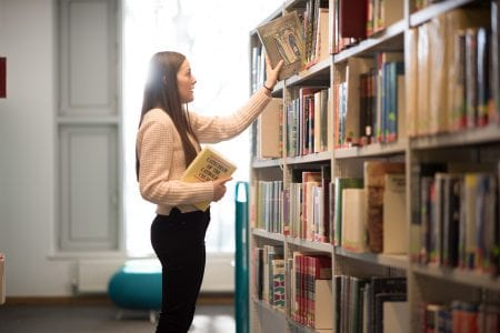 Choosing books in the library