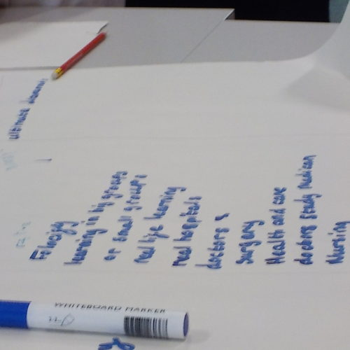 writing on flipchart