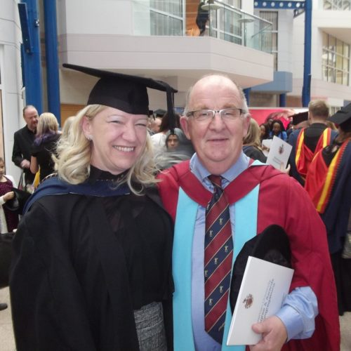 Newman graduate Yvonne with Dr Paul McDonald at graduation ceremony