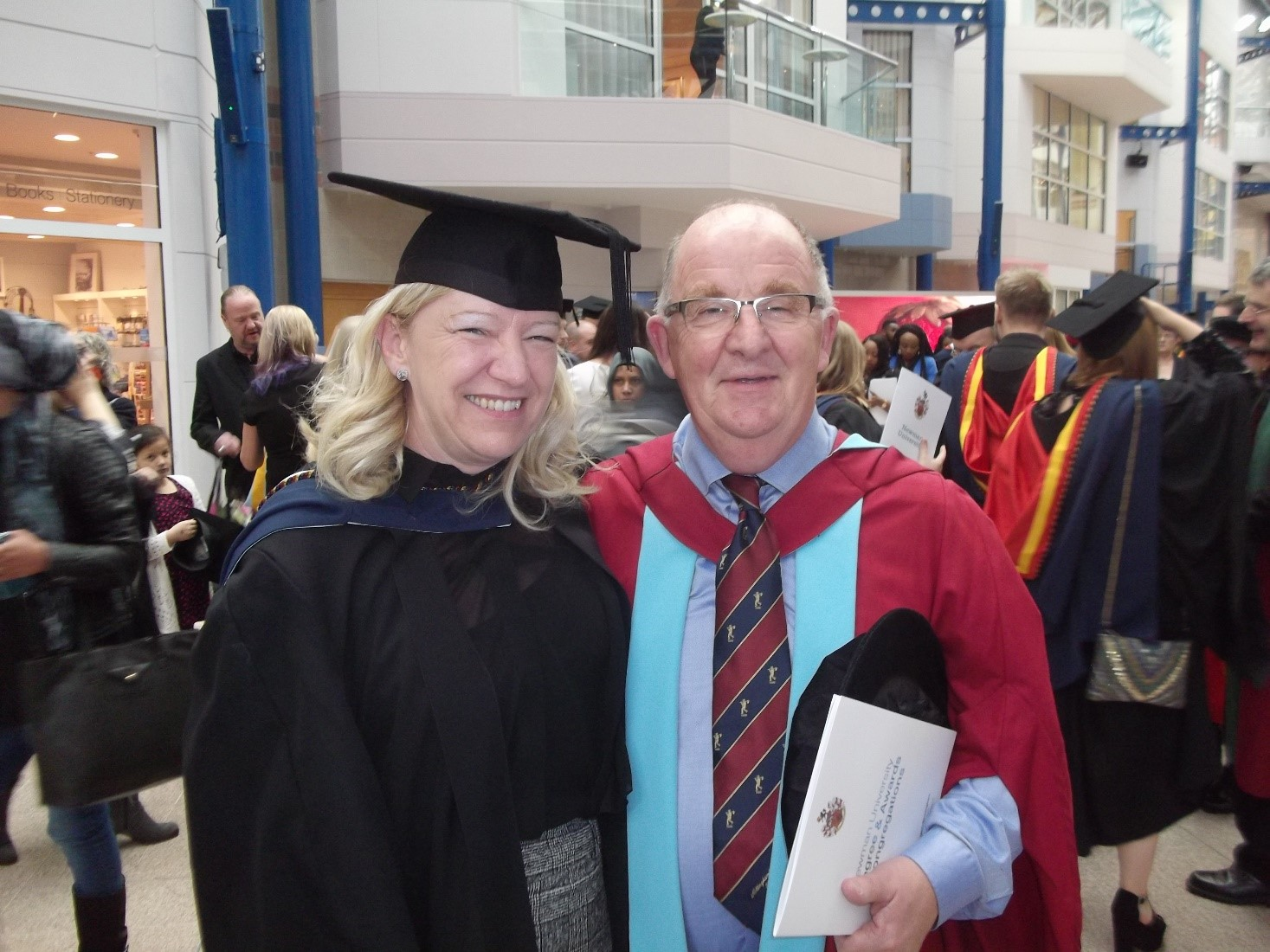Newman graduate Yvonne with Dr Paul McDonald at graduation ceremony