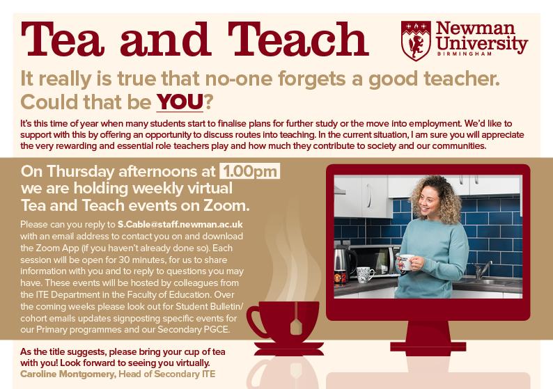 Tea and TEach every Thursday with the Faculty of Education