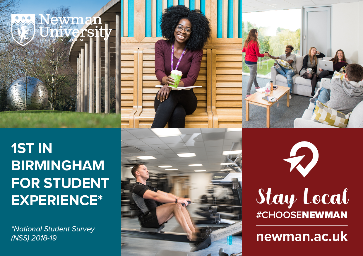 Stay local and choose Newman University, Birmingham - Number one for Student Experience in Birmingham, NSS 2019