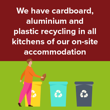 We have cardboard, aluminum and plastic recycling in all kitchens of our on-site accommodation