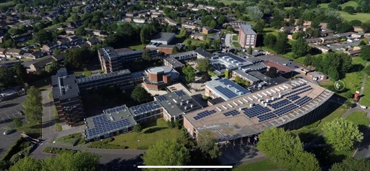 solar panels on roof of newman university